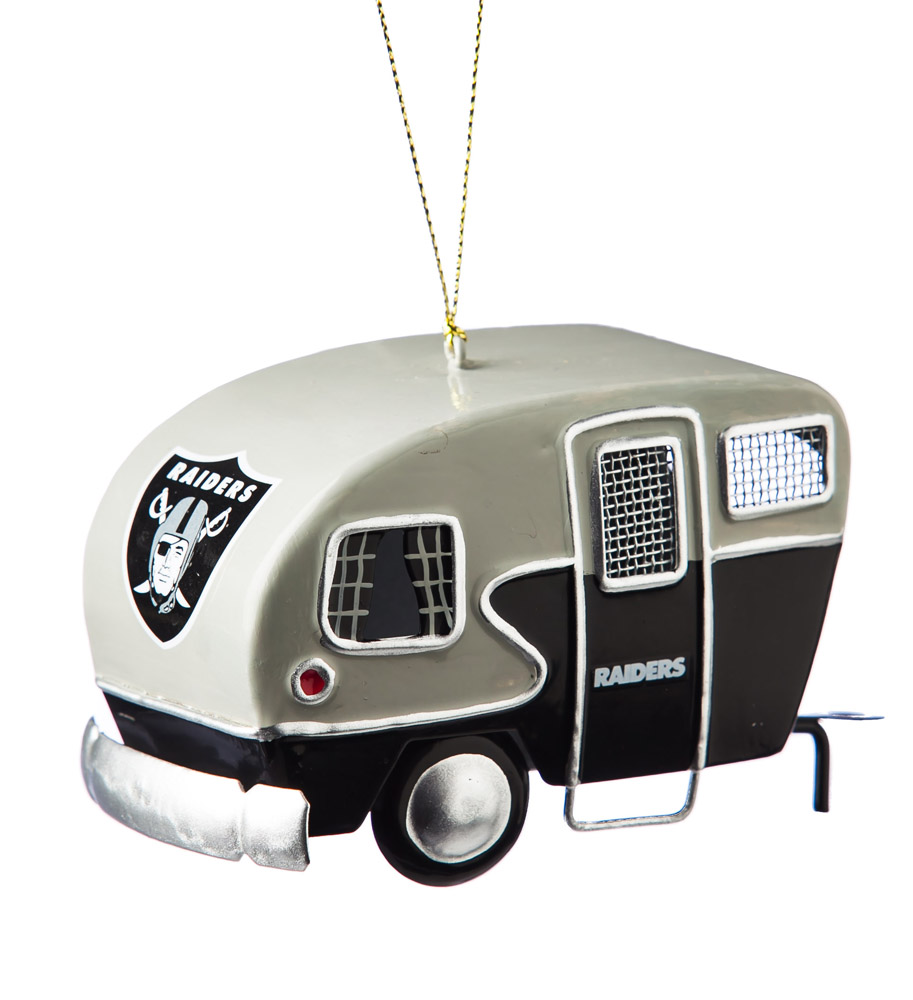Oakland Raiders Metal Camper Ornament