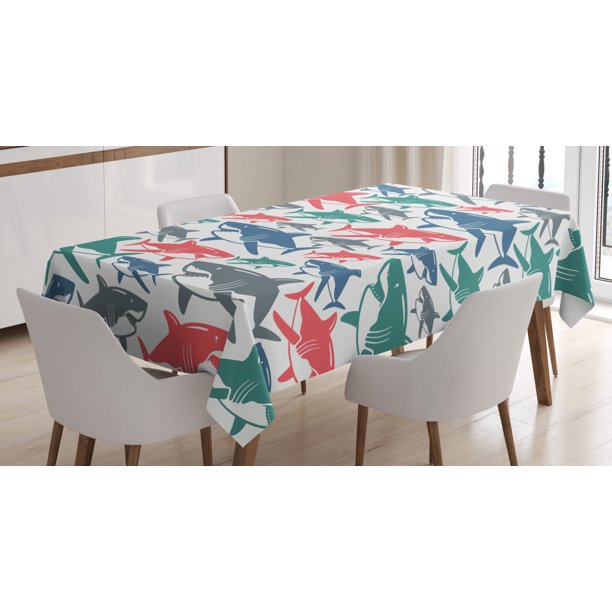 Sea Animal Decor Tablecloth Mix Of Colorful Bull Shark Family Pattern Masters Of Survival Kids Nursery Rectangular Table Cover For Dining Room Kitchen 52 X 70 Inches Multi By Ambesonne Walmart Com
