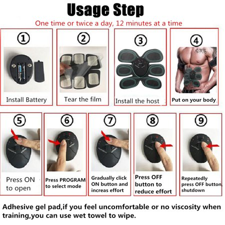 6 Modes Electric Abs Muscle Stimulator Patch Training Body Shape Fit Set Fitness Massage Home Trainer - image 12 de 14
