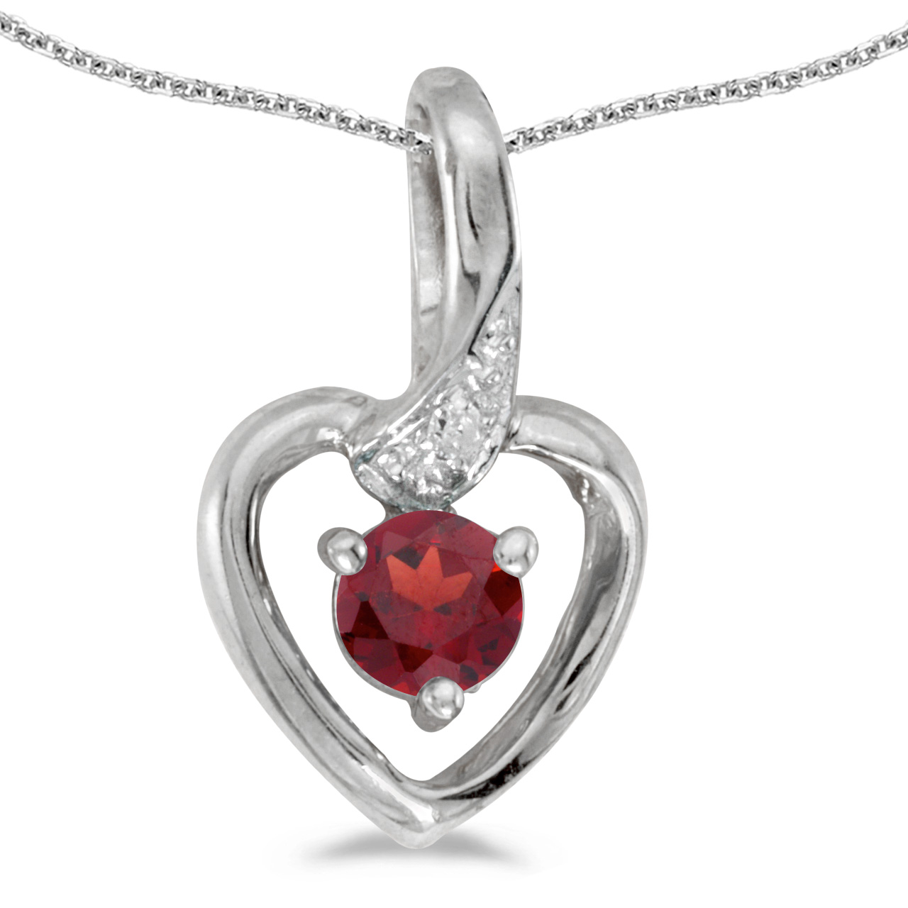 "10k White Gold Round Garnet And Diamond Heart Pendant with 18"" Chain"