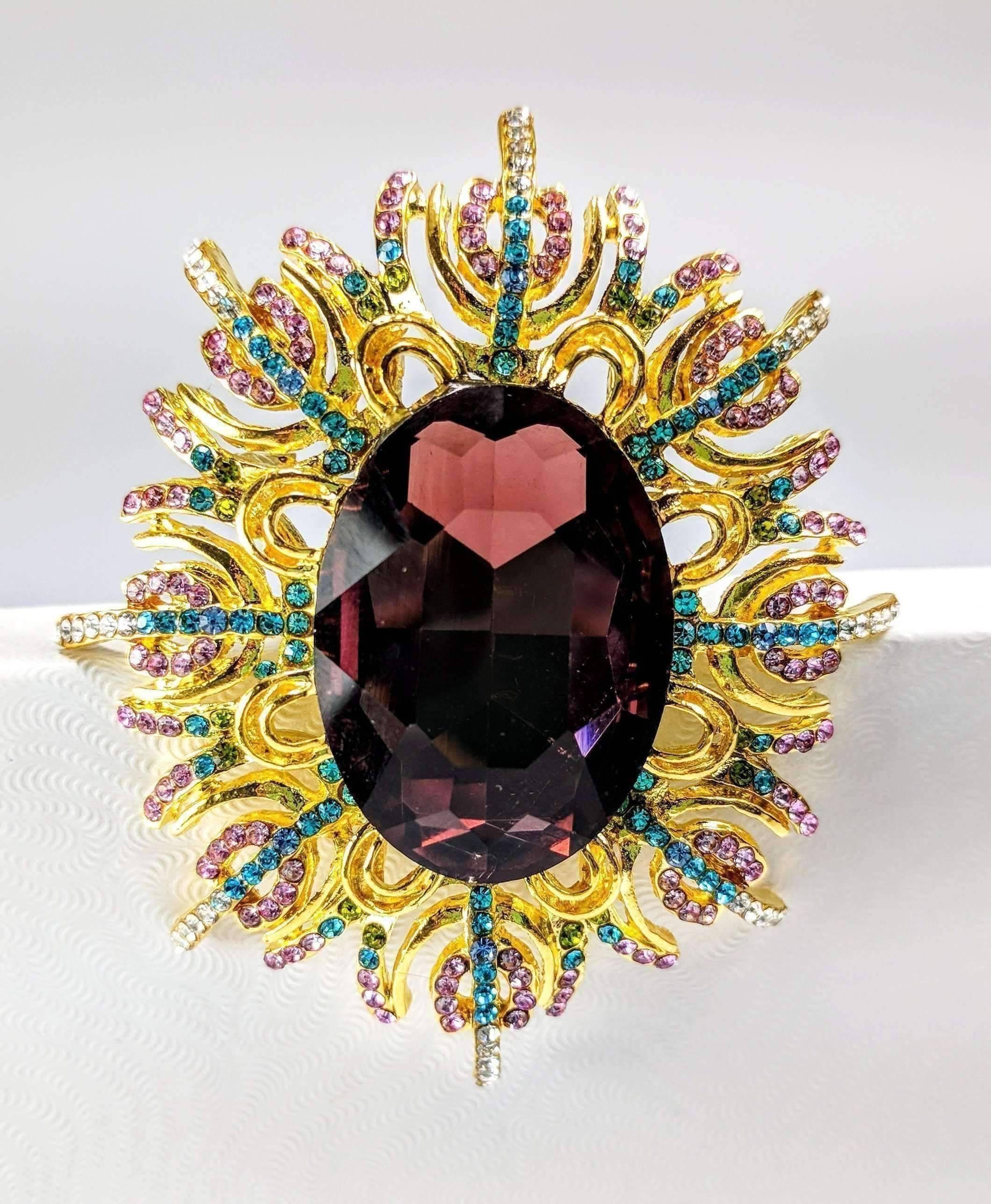 Garden of Beauty Large Crystal Encrusted Brooch Sweater Pin Flower by Feshionn IOBI