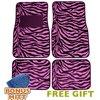 A Set of 4 Universal Fit Animal Print Carpet Floor Mats for Cars / Truck - Pink Zebra Stripes & Bonus Detailing WASH MITT