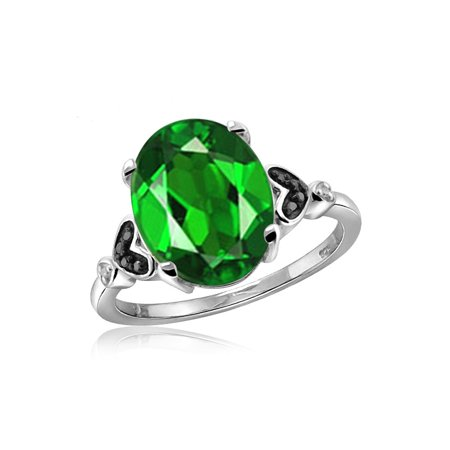 1.55 Carat T.G.W. Chrome Diopside Gemstone and 1/20 Carat T.W. Black and White Diamond (Diopside Set Ring)