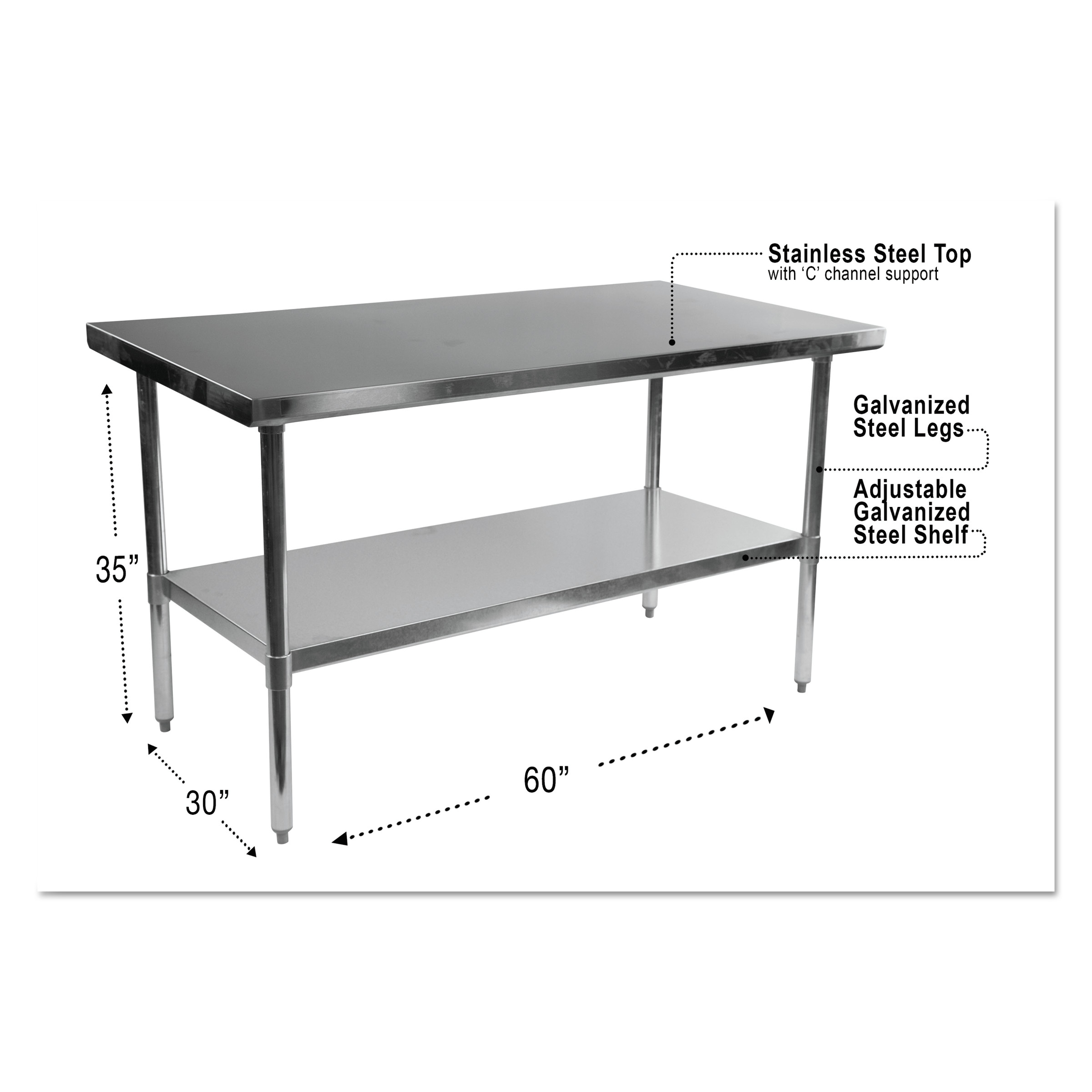 Alera Nsf Stainless Steel Commercial Kitchen Prep Work Table