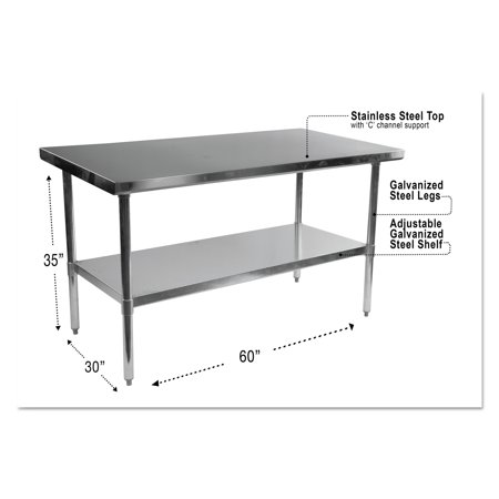 Alera NSF Stainless Steel Commercial Kitchen Prep Work Table - 30 x 60 stainless steel work table