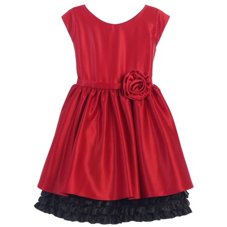 Sweet Kids Little Girls Red Black Rolled Flower Adorned Occasion Dress 2-6 Childrens Occasion Dresses