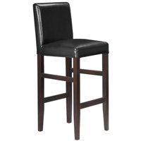 Kendall Contemporary Wood/Faux Leather Barstool - Black