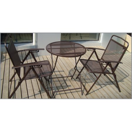 Bistro set patio set 3pc table chairs outdoor furniture for Wrought iron cafe chairs