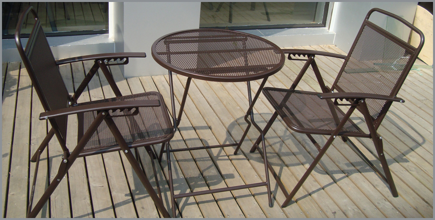 Bistro Set Patio Set 3pc Table U0026 Chairs Outdoor Furniture Wrought Iron CAFE  Set Coffee