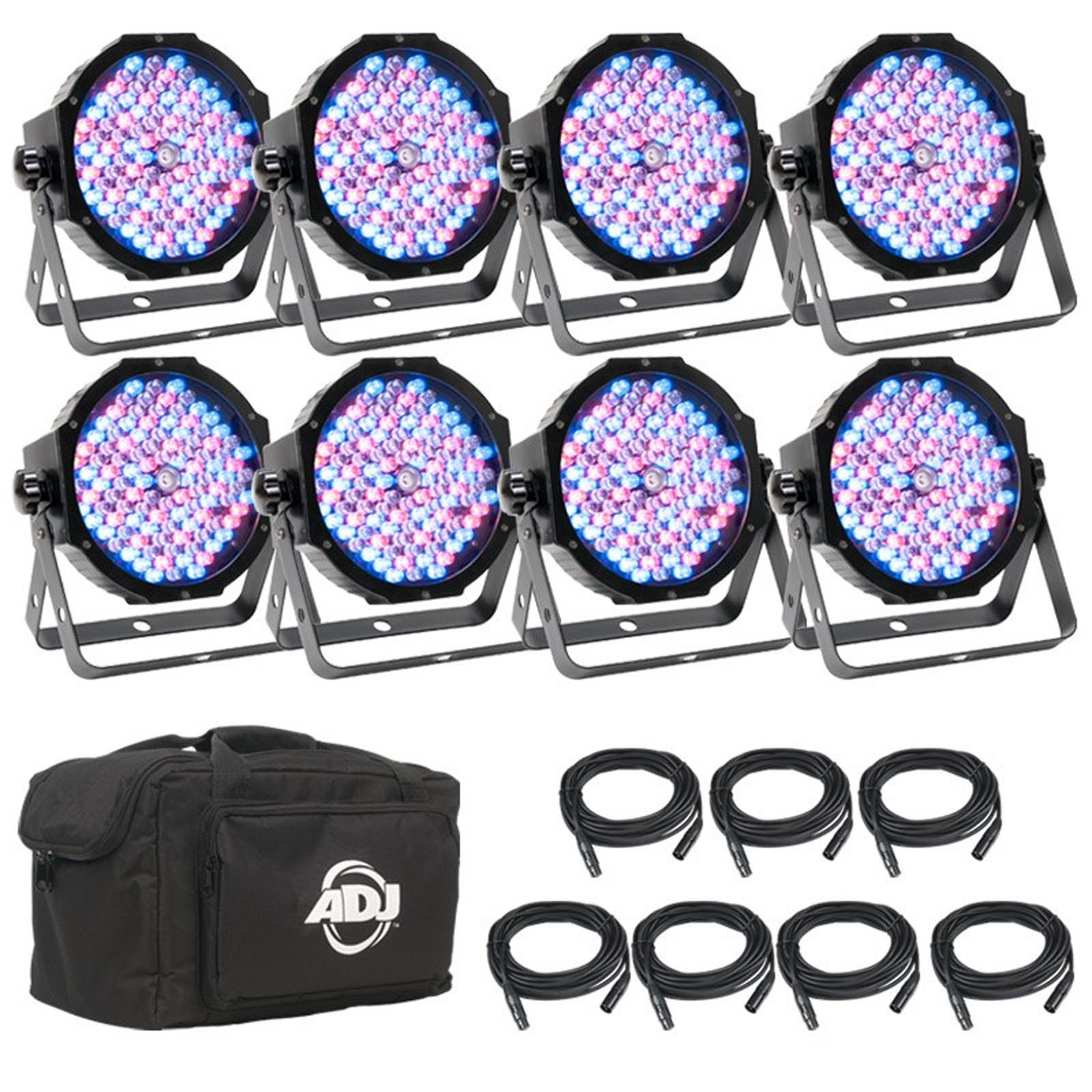 American DJ ADJ Mega Flat Pak 8 Plus LED Mega Par Profile System w/ Bag + Cables