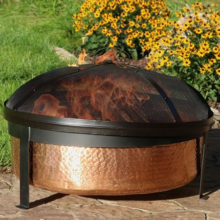 Copper Outdoor Firebowl - Sunnydaze Hammered 100% Copper Fire Pit Bowl with Cover and Spark Screen, Outdoor Patio and Backyard Wood Burning Round Firepit, 30 Inch