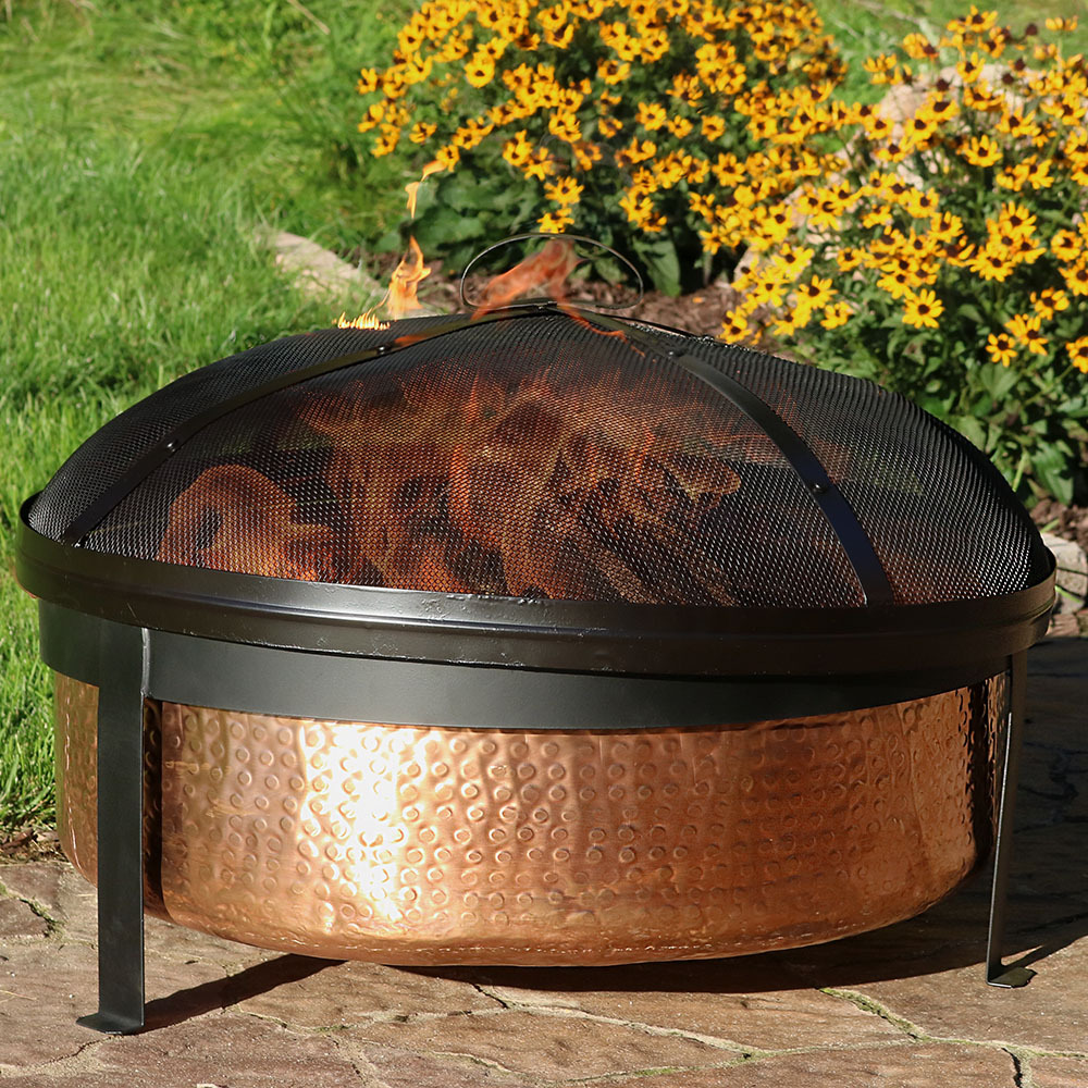 Sunnydaze Hammered 100% Copper Fire Pit Bowl with Cover and Spark Screen, Outdoor Patio and Backyard Wood Burning Round Firepit, 30 Inch
