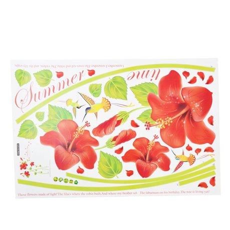 Pvc salon oiseaux fleur imprime diy autocollant sticker for Autocollant mural walmart