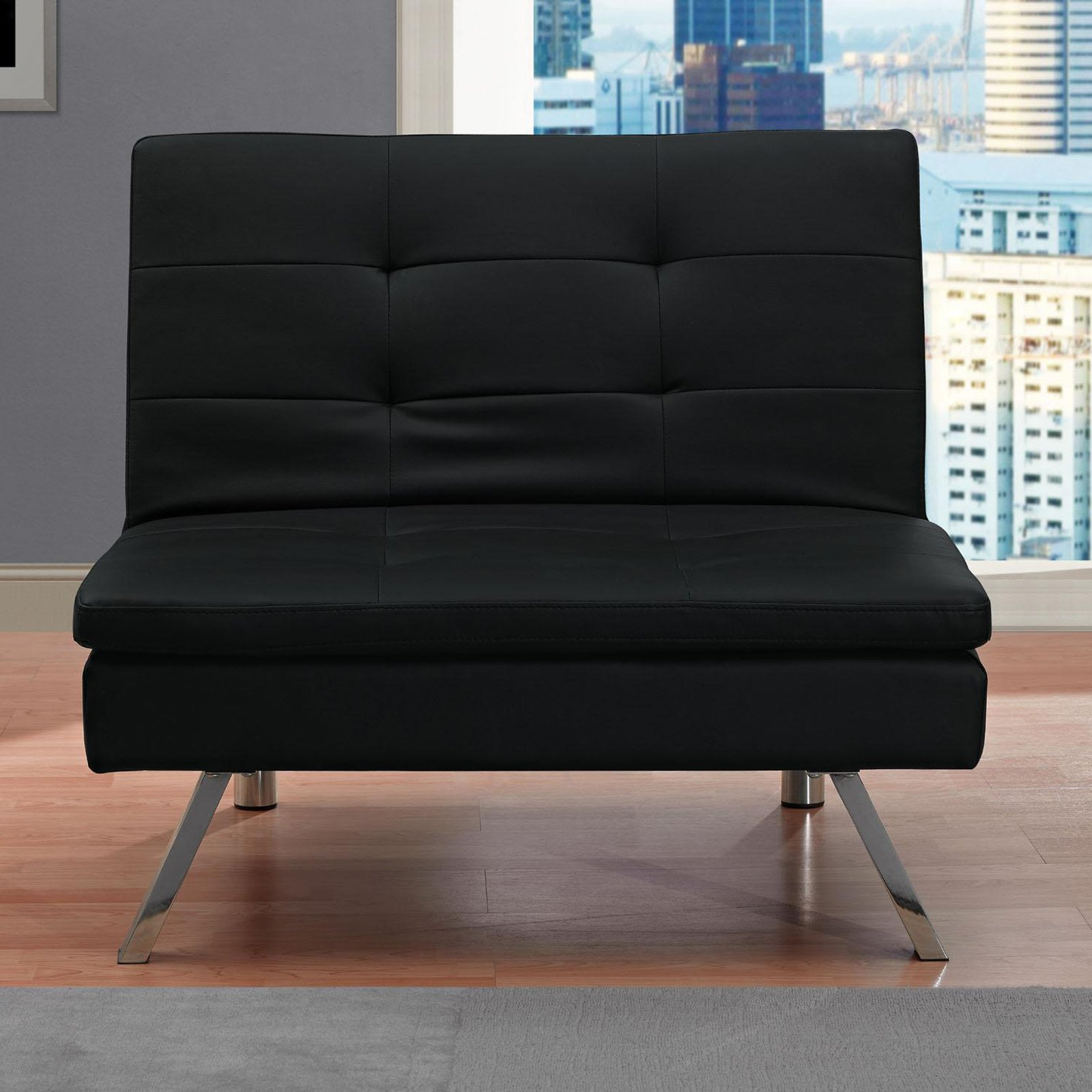 DHP Chelsea Faux Leather Upholstered Accent Chair, Black