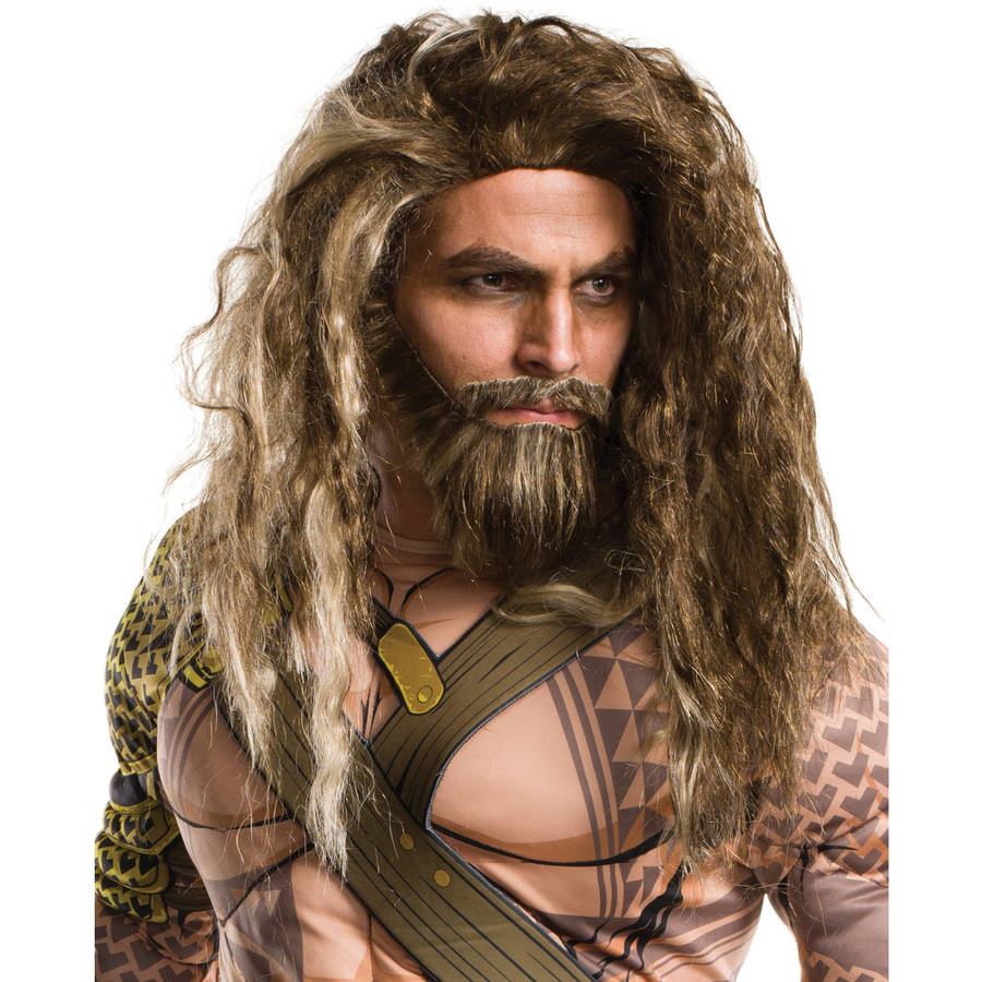Batman Vs Superman: Dawn of Justice Men's Adult Aquaman Beard and Wig Set  Halloween Costume Accessory