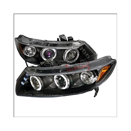2006 2007 Honda Civic Coupe - Honda Civic Coupe 2006 2007 2008 2009 2010 2011 LED Halo Projector Headlights - Black Smoke