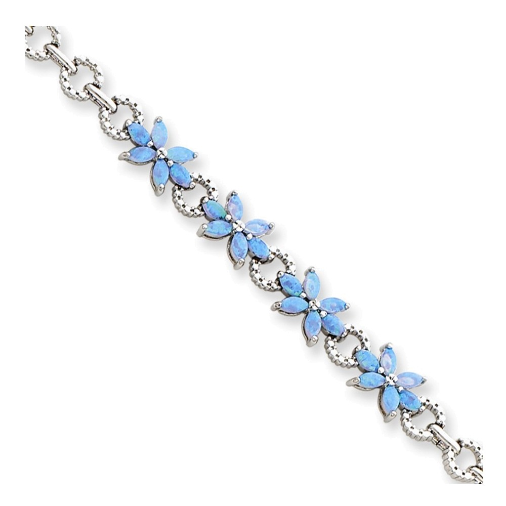 Sterling Silver 7.5inch Rhodium Plated Blue Created Opal Flower Bracelet by