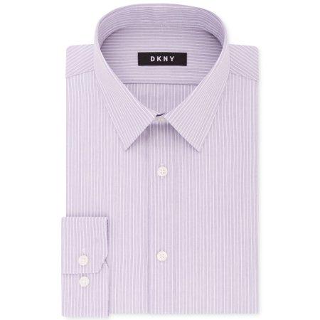 Pinstripe Italian (White Mens Pinstriped Slim Fit Dress Shirt 17 1/2 )