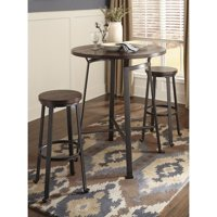 Ashley Challiman 3 Piece Bar Height Round Dining Set in Rustic Brown
