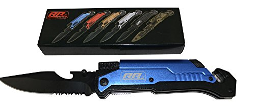 New Rogue River Tactical Knives Best Blue 6-in-1 Multitool Survival Pocket Knife with Magnesium Fire Starter, LED Flashlight Bottle Opener... by Rogue River Tactical