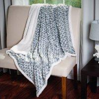 Somerset Home Plush Flower Fleece Sherpa Throw Blanket - Black