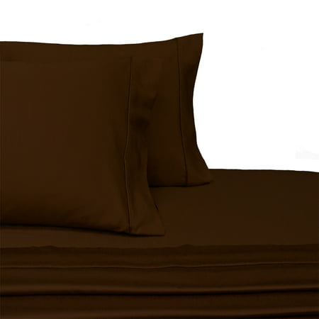 Flat Sheet Stripe Chocolate - Royal Tradition Microfiber Sheets Super soft & Wrinkle Free Sheet Set- Twin Size -Chocolate