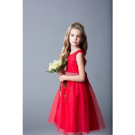 210f51d85e3e5 Christmas - Rainkids Little Girls Red Sparkly Tulle Pearls Occasion Dress 6  - Walmart.com