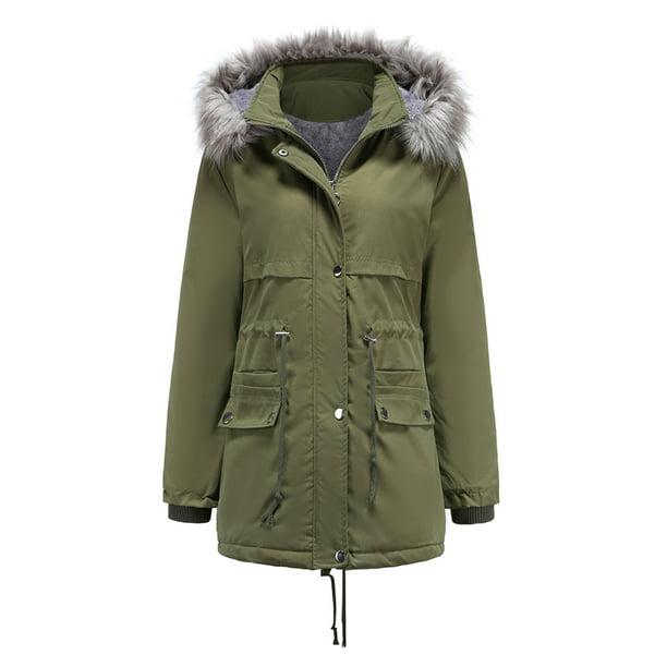 Women Hooded Warm Winter Coats, Long Faux Fur Lined Winter Coat