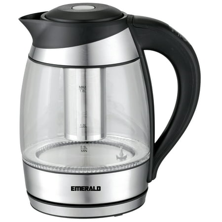 Emerald 1.8L Glass Electric Kettle w/ Included Free Removable Tea Infuser, 5 Temperature Presets, & Color Changing Lights (1359)