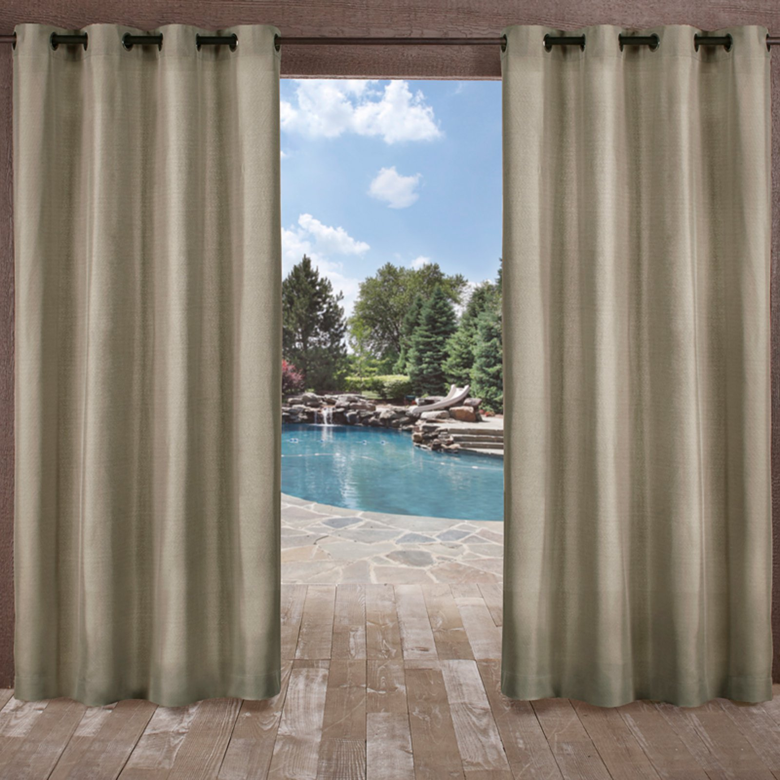 Exclusive Home Curtains 2 Pack Biscayne Indoor/Outdoor Two Tone Textured Grommet Top Curtain Panels