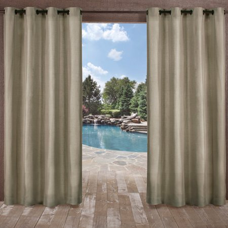 Two Tone Single (Exclusive Home Curtains 2 Pack Biscayne Indoor/Outdoor Two Tone Textured Grommet Top Curtain Panels )