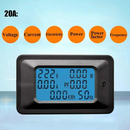 Multi-Function Digital AC Voltage Meter Power Monitor Indicator Power Energy Voltmeter English Version 20A /