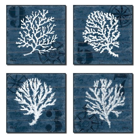 4 Indigo Blue Coral Nautical Signs; Coastal Decor; Four 12x12in Poster Prints Prints. Blue/White ()
