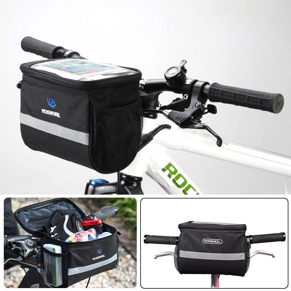 TSV Bike Handlebar Bag Bicycle Pannier Frame Tube Outdoor Cycling Pouch Front Basket