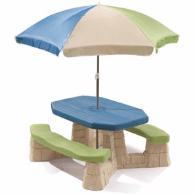 Little tikes easy store picnic table with umbrella walmart step2 naturally playful picnic table with removable umbrella watchthetrailerfo