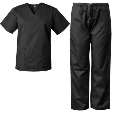 Medgear Mens Scrubs Set Medical Uniform  4 Pocket Top   Cargo Pants 7890