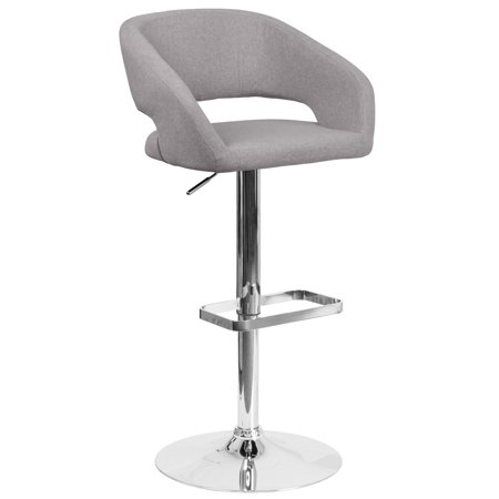 Round Back Swivel Stool - Flash Furniture Contemporary Rounded Mid Back Fabric Adjustable Swivel Bar Stool with Chrome Pedestal
