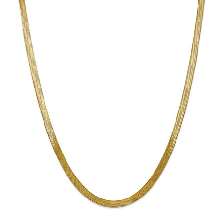 """Solid 14k Yellow Gold 5.0mm Silky Herringbone Chain Necklace 16"""" - with Secure Lobster Lock Clasp"""