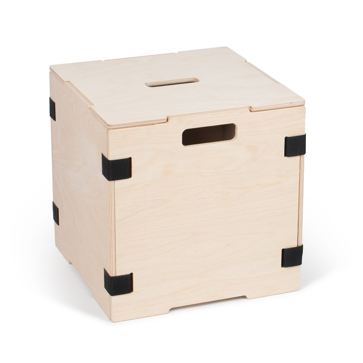 Superior Stackable Wood Cube Storage Boxes   Black  1 Box With Lid