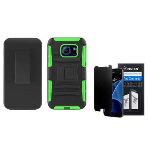 Insten Hard Hybrid Plastic Silicone Stand Case with Holster For Samsung Galaxy S7 - Black/Green (+ Anti-Spy Protector)