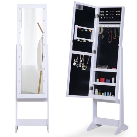 HOMCOM 16 LED Lighted Jewelry Armoire Storage Cabinet Organizer Lockable 3 Adjustable Angle with Full-Length Mirror - White