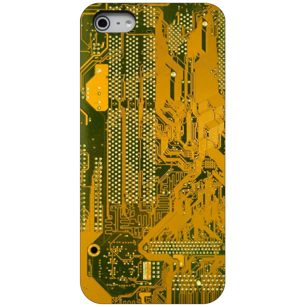 CUSTOM Black Hard Plastic Snap-On Case for Apple iPhone 5 / 5S / SE - Yellow Circuit Board