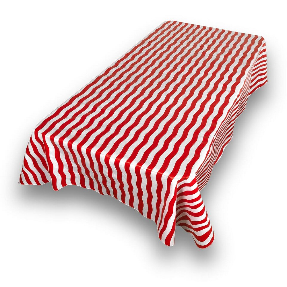 "Carnation Home Fashions ""Bold Stripe"" Red 52""x90"" vinyl flannel backed tablecloth"