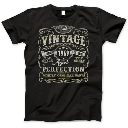 50th Birthday Gift T-Shirt - Born In 1969 - Vintage Aged 50 Years Perfection - Short Sleeve - Mens - Black T Shirt - (2019 Version) Small (50 Birthday Gifts For Women)