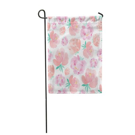LADDKE Arrangement Watercolor with Peonies and Roses Wedding Floral Artistic Bloom Blos Garden Flag Decorative Flag House Banner 12x18 inch ()