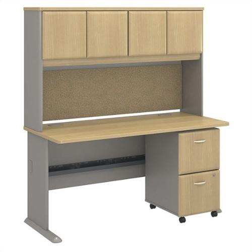 "Bush BBF Series A 60"" Desk with Hutch in Light Oak"