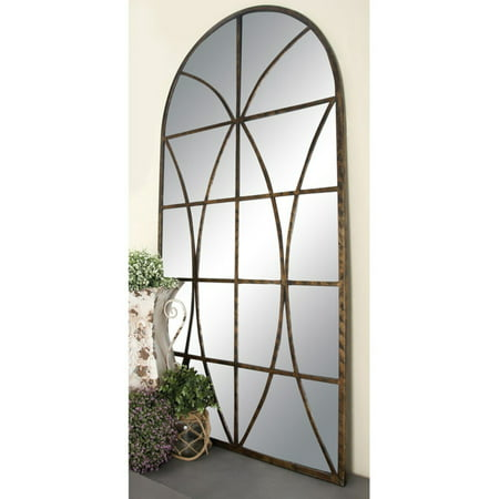 Decmode Metal and Wood Window Pane Arch Mirror, Brown