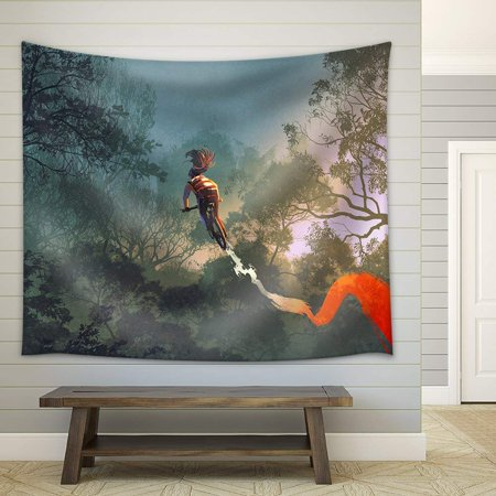 Background Tracks (wall26 - cyclist riding a bike with tire track in the air with forest in background - Fabric Wall Tapestry Home Decor - 51x60)