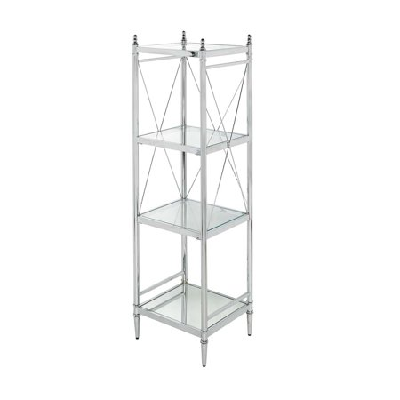 Linon Pinnacle Chrome and Glass Shelf, Four Spacious Shelves