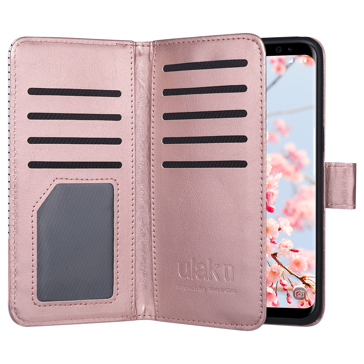 Galaxy S8 Case, ULAK Magnetic Premium PU Leather Wallet Case Flip Cover with Built-in 9 Slots and Wrist Strap for Samsung Galaxy S8 2017 Release